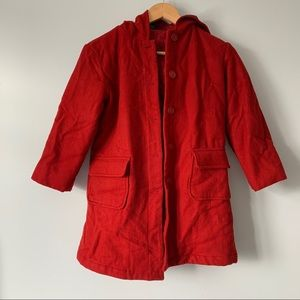 Gap red wool coat with hood and pockets kids Large